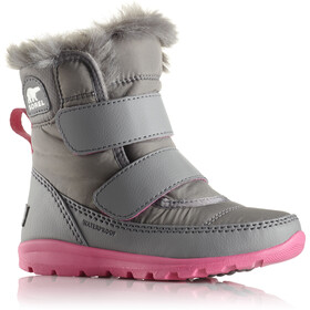 Sorel Whitney Short Hook-and-Loop Botas Niños, quarry/ultra pink